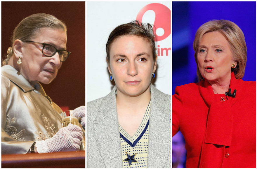 From left: Ruth Bader Ginsburg, Lena Dunham and Hillary Clinton all made public apologies this year. (Getty Images)