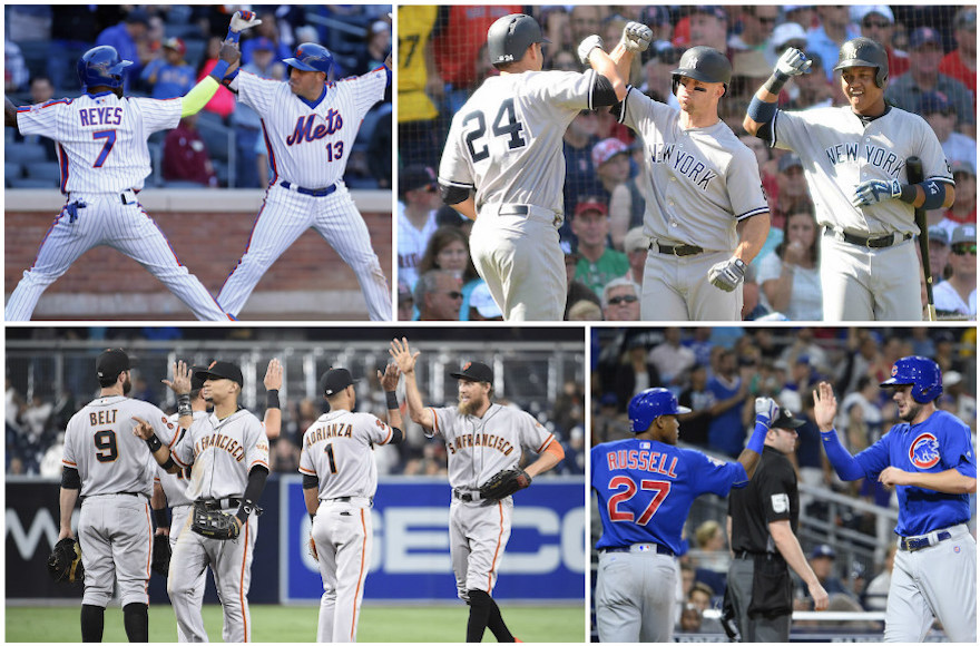 Players from the following teams, clockwise from top left: New York Mets, New York Yankees, Chicago Cubs, San Francisco Giants. (Getty Images)