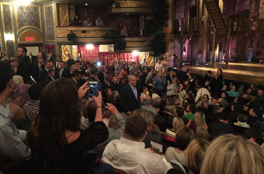 "Benjamin Netanyahu caused quite a stir when he attended a performance of ""Hamilton"" in New York City, Sept. 24, 2016. (Screenshot from Twitter)"