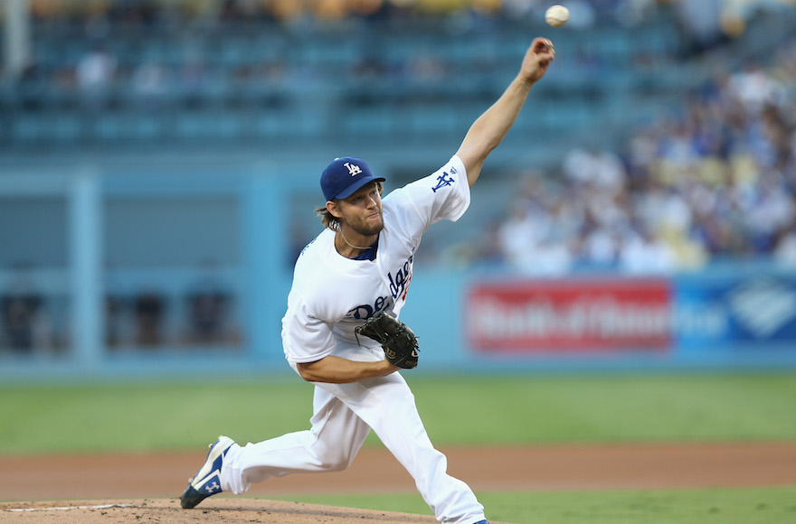Clayton Kershaw of the Los Angeles Dodgers pitching in a game against the Colorado Rockies at Dodger Stadium, Sept. 24, 2016.(Stephen Dunn/Getty Images)