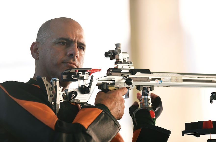 Doron Shaziri competing in the men's 50-meter rifle 3 positions SH1 on day five of the Rio 2016 Paralympic Games, Sept. 12, 2016 in Rio de Janeiro, Brazil.  (Atsushi Tomura/Getty Images)