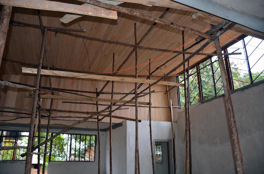 The interior of a synagogue under construction in Nabagoye, Uganda (Courtesy of Be'chol Lashon)