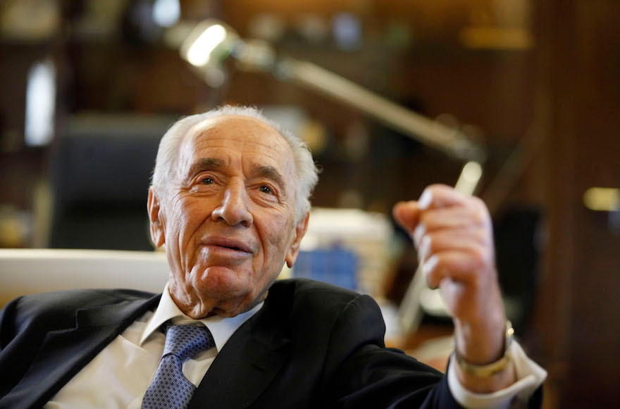 Shimon Peres speaking during an interview in the president's residence in Jerusalem, April 10, 2013. (Lior Mizrahi/Getty Images)
