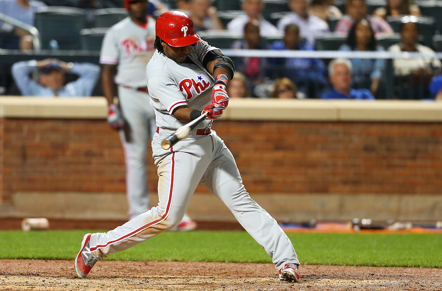 Maikel Franco of the Philadelphia Phillies hitting a home run against the New York Mets at Citi Field in New York, Sept. 22, 2016. (Mike Stobe/Getty Images)