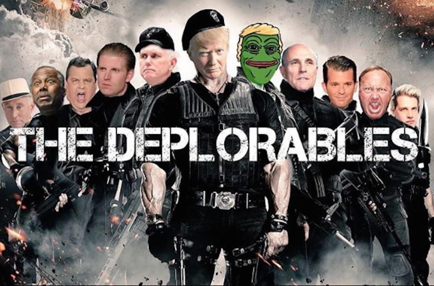 A movie poster parody posted on Instagram on Sept. 11 2016 by Donald Trump Jr. and including Trump Jr., third from right, his father, Republican nominee Donald Trump, and Pepe the Frog, a symbol adopted by white supremacists. (Screenshot from Instagram)