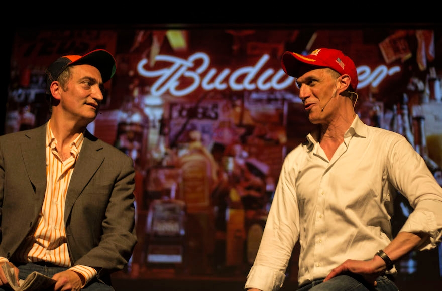 Pep Rosenfeld, left, and Greg Shapiro portraying Donald Trump supporters at their comedy club in Amsterdam, May 11, 2016. (Courtesy of Boom Chicago)