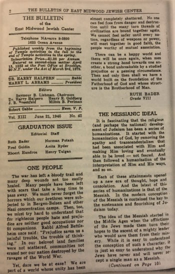 "An essay written by a 13-year-old Ruth Bader Ginsburg in the East Midwood Jewish Center's bulletin (""My Own Words"")"