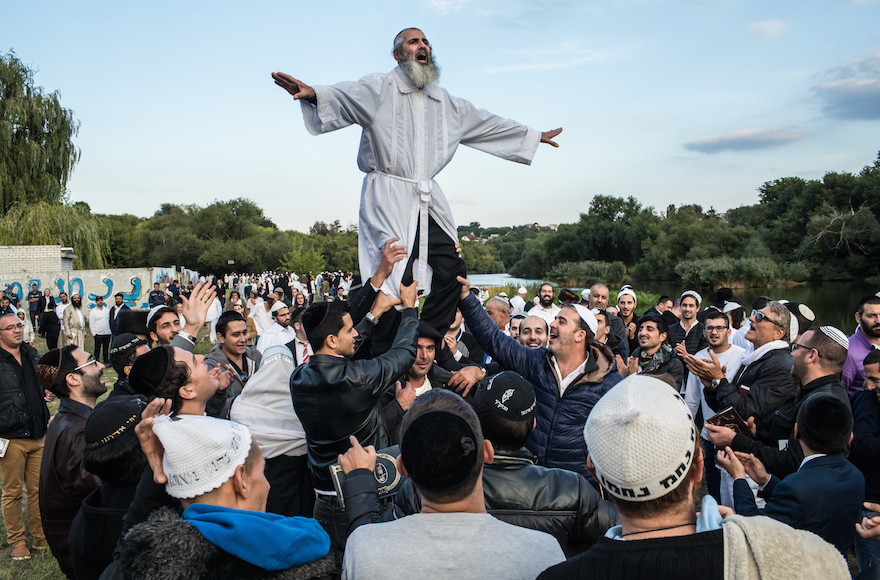 Hasidic pilgrims dance not far from the burial site of Rebbe Nachman of Breslov in Uman, Ukraine, Sept. 14, 2015. (Brendan Hoffman/Getty Images)