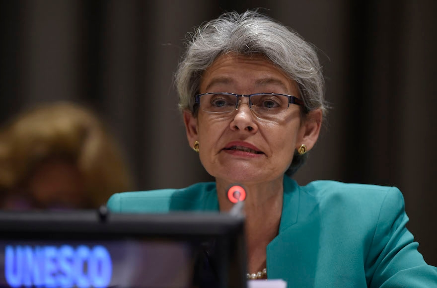 UNESCO Director General Irina Bokova speaking in New York City, Sept. 18, 2016. (Riccardo Savi/Getty Images for International Commission on Financing Global Education Opportunity)