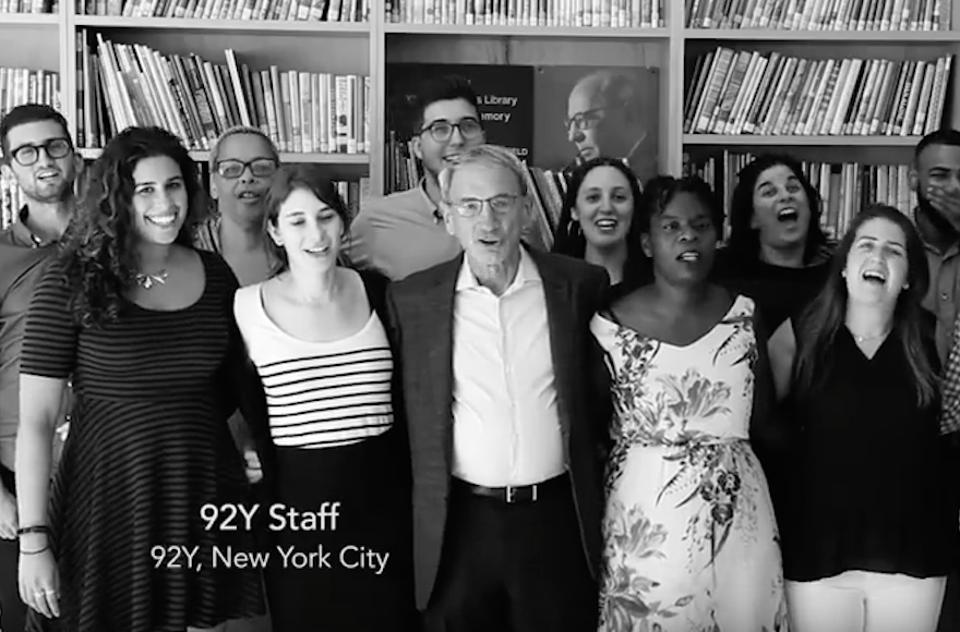 "Jews from around the world recorded the song ""A New Year,"" produced by the 92nd Street Y before Rosh Hashanah 2016 (Screenshot from YouTube)"