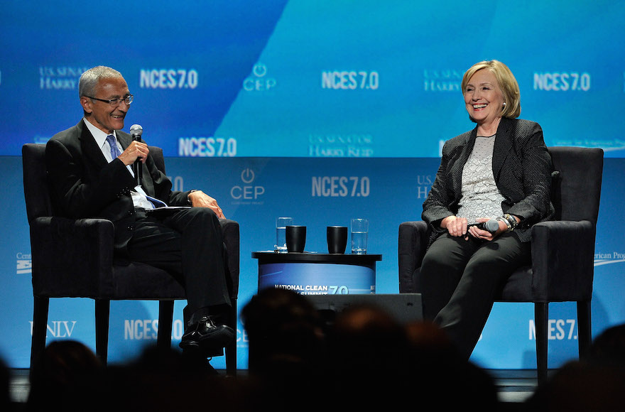 John Podesta and Hillary Clinton attending the National Clean Energy Summit 7.0 in Las Vegas, Sept. 4, 2014. (David Becker/Getty Images for National Clean Energy Summit)