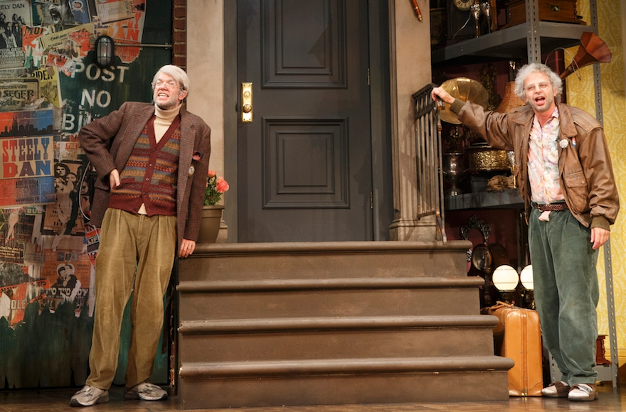 "John Mulaney as George St. Geegland and Nick Kroll as Gil Faizon in ""Oh, Hello on Broadway."" (Joan Marcus)"