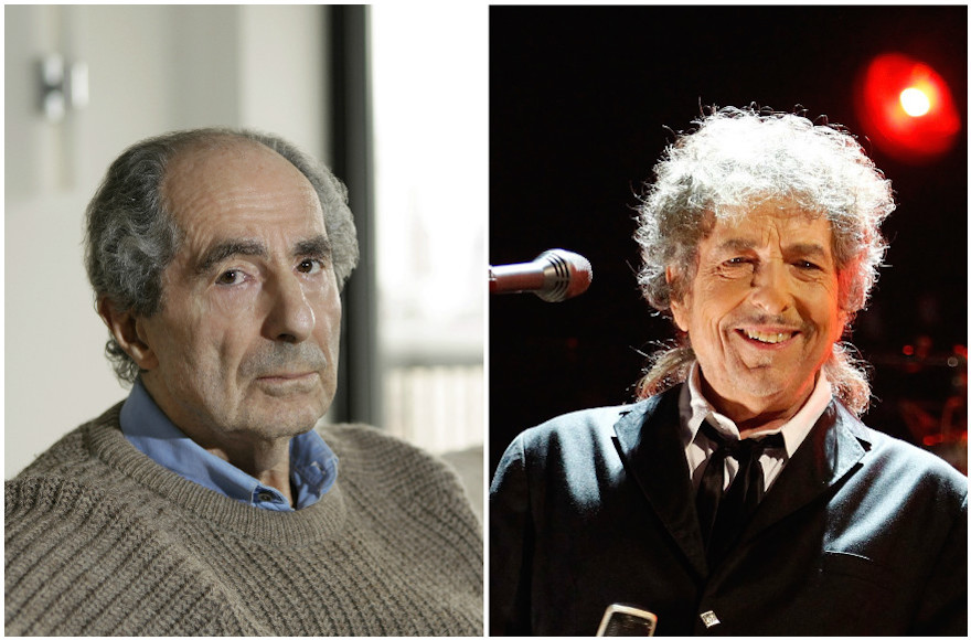 The time for Philip Roth, left, to win a Nobel Prize may be running out. Bob Dylan, right, won the prize on Oct. 13, 2016. (Julian Hibbard/Christopher Polk/Getty Images)