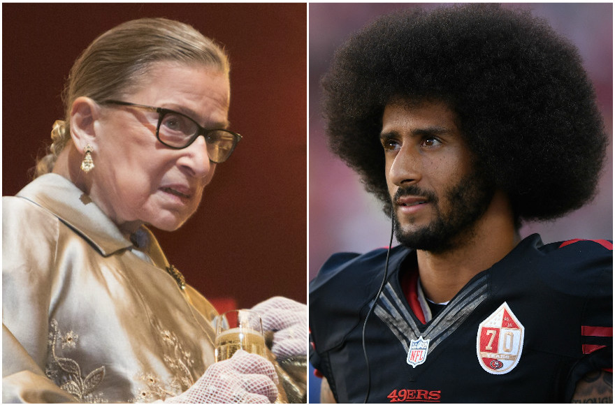 Supreme Court Justice Ruth Bader Ginsburg, left, (Chris Kleponis/AFP/Getty Images) and Colin Kaepernick (Thearon W. Henderson/Getty Images)