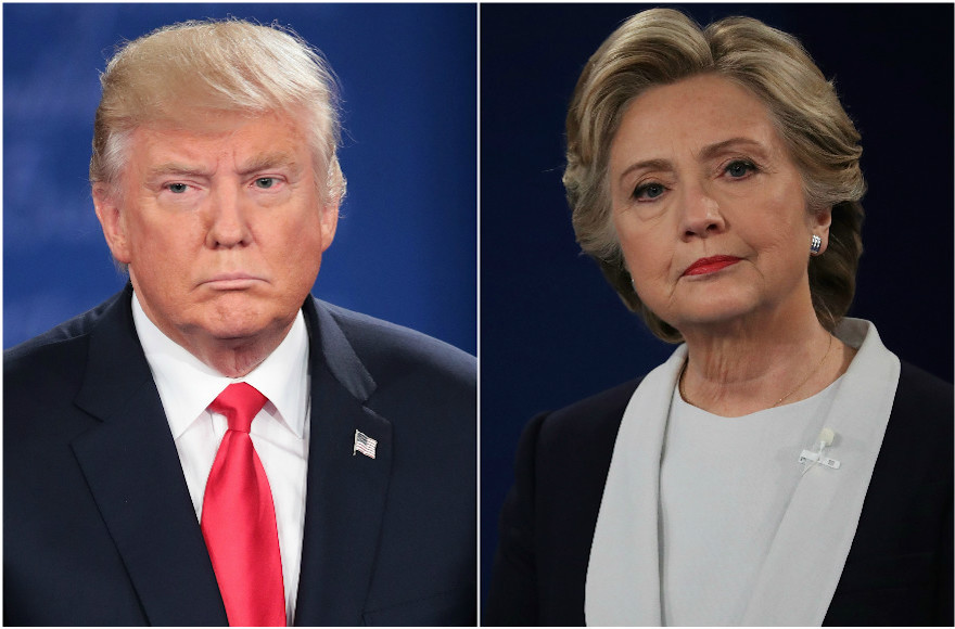 Donald Trump and Hillary Clinton at the second presidential debate at Washington University in St. Louis, Mo., Oct. 9, 2016 (Trump photo: Scott Olson/Getty Images; Clinton photo: Chip Somodevilla/ Getty Images)