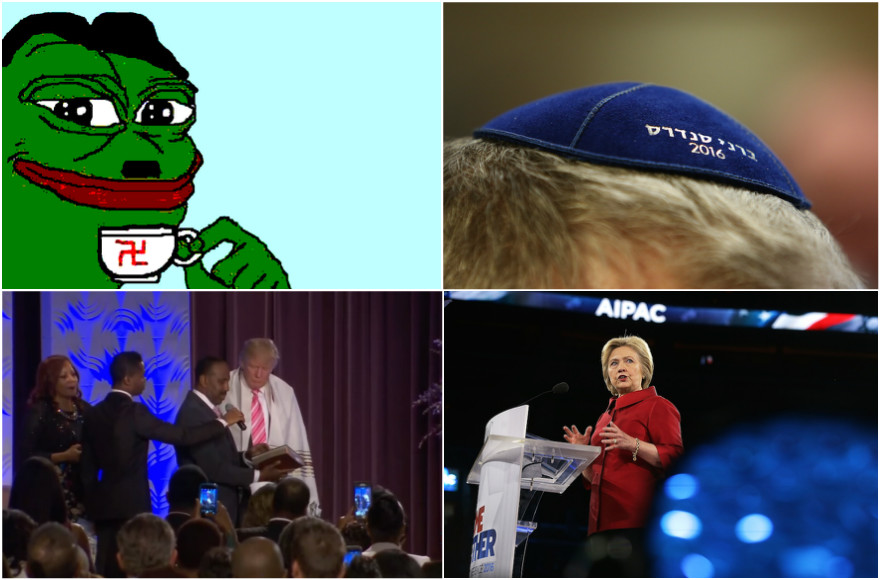 Top left, clockwise: Pepe the Frog, Bernie Sanders kippah, Hillary Clinton speaking at AIPAC, Donald Trump wearing a tallit (Pepe photo: Twitter; Sanders photo: Charles Ledford/Getty Images; Clinton photo: Alex Wong/Getty Images; Trump photo: YouTube)