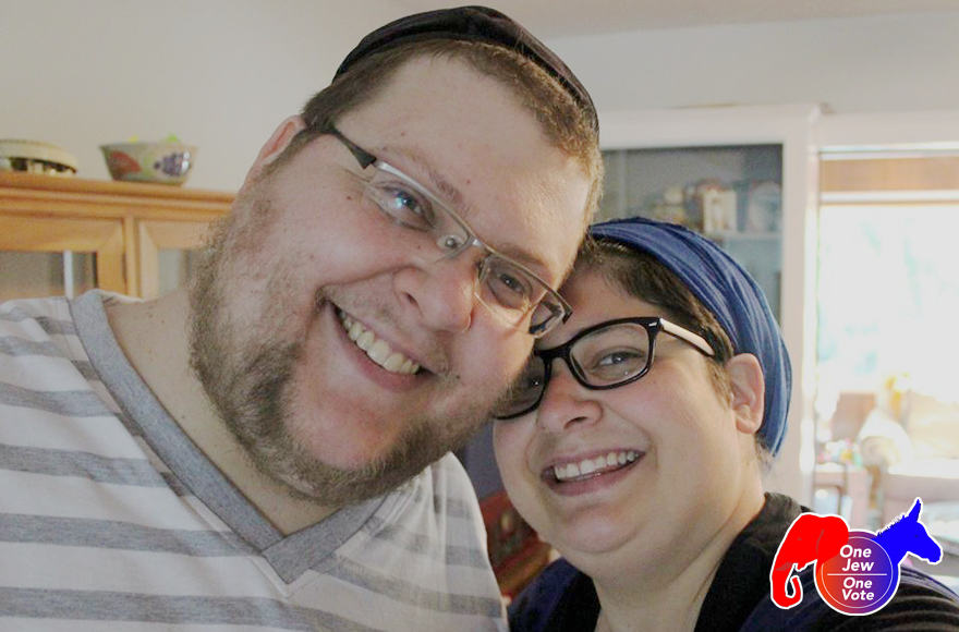 Corey Adler, left, with his wife (Courtesy of Adler)