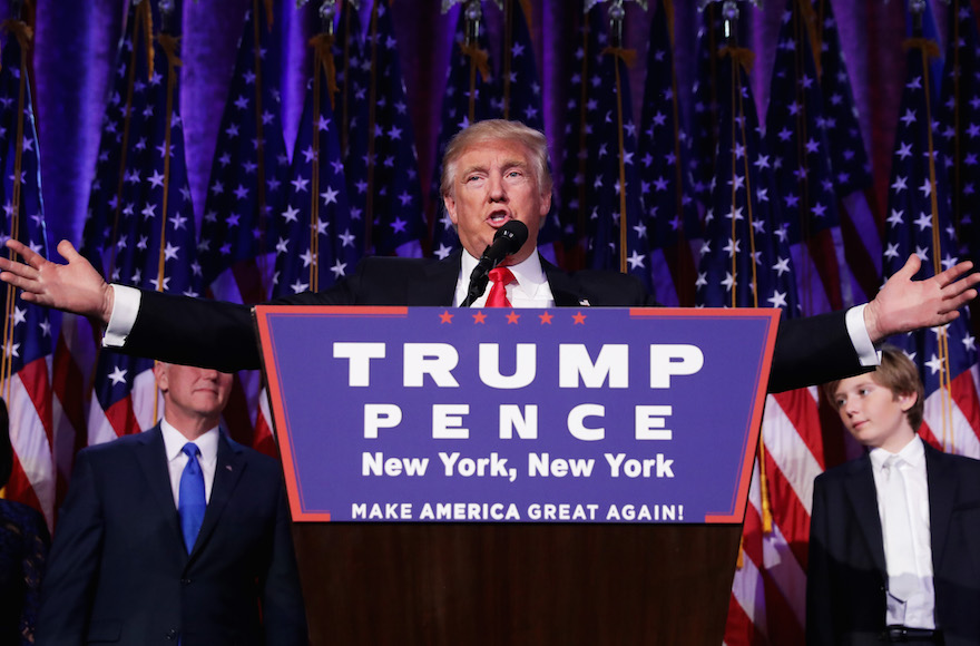 Republican president-elect Donald Trump delivering his acceptance speech during his election night event at the New York Hilton Midtown in New York City, Nov. 9, 2016. (Chip Somodevilla/Getty Images)
