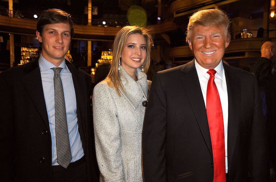 Jared Kushner, Ivanka Trump and Donald Trump attending the Comedy Central Roast of Donald Trump at the Hammerstein Ballroom in New York City, March 9, 2011. (Jeff Kravitz/FilmMagic via Getty Images)