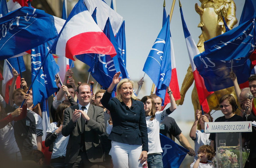 Marine Le Pen, head of France's far-right party, attending a rally in Paris, May 1, 2011. (Franck Prevel/Getty Images)