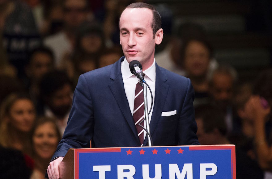 Stephen Miller speaking at a Donald Trump campaign rally, in Anaheim, California, May 25, 2016. (Robyn Beck/AFP/Getty Images)