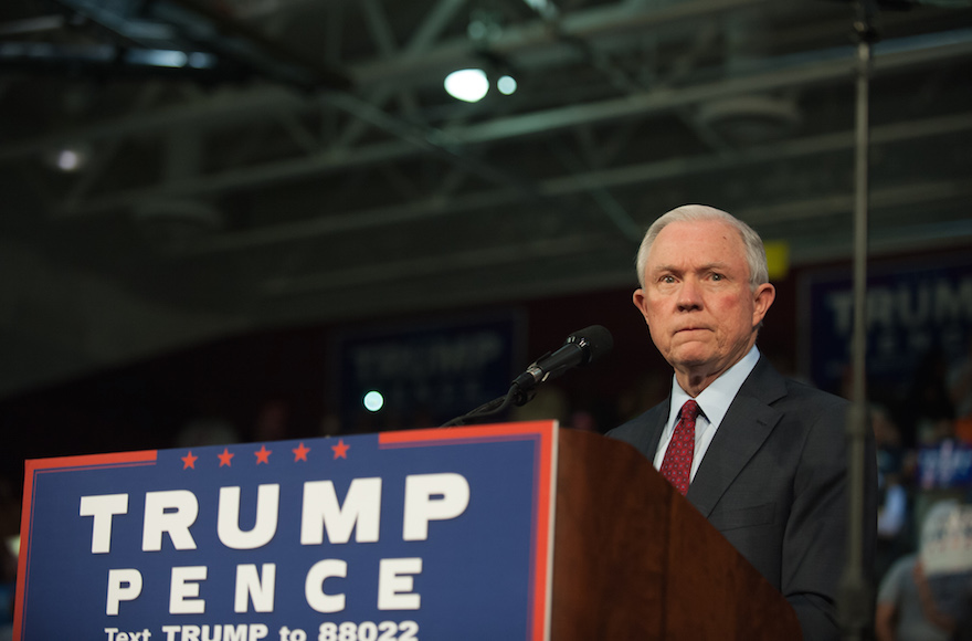 Alabama Senator Jeff Sessions pledging his commitment to Donald Trump at a rally at Ambridge Area Senior High School in Abridge, Penn., Oct. 10, 2016. (Jeff Swensen/Getty Images)