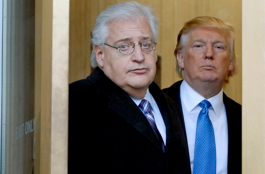 Donald Trump, right, along with his attorney David Friedman, left, exiting the Federal Building following their appearance in U.S. Bankruptcy Court in Camden, New Jersey, Thursday, Feb. 25, 2010. (Bradley C Bower/Bloomberg News via Getty Images)
