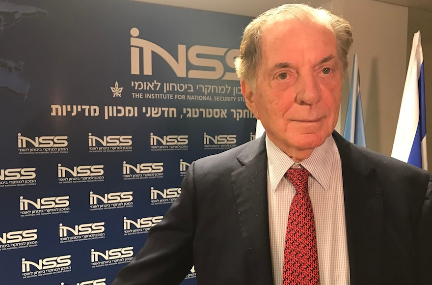Itamar Rabinovich, a former Israeli ambassador to the U.S., speaking at the Institute for National Security Studies in Tel Aviv, Israel, Nov. 9, 2016. (Andrew Tobin(