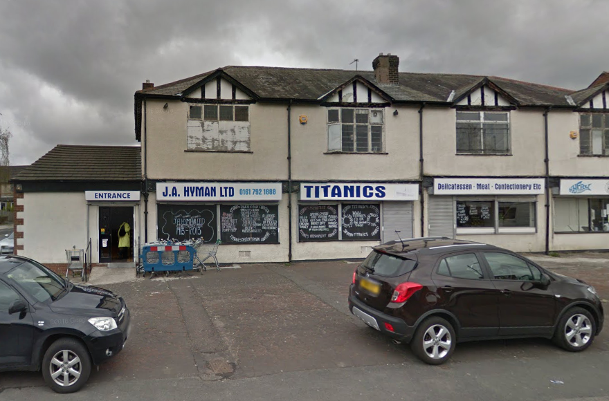 "The iconic ""Titanics"" kosher deli in Manchester, England, has closed for good. (Screenshot from Google Maps Street View)"