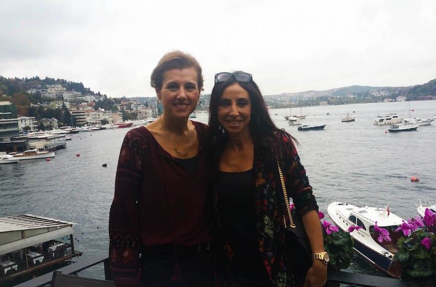 Turkish Jewish businesswoman Betty, left, and her friend Suzette at a cafe in Istanbul on Nov. 4, 2015. (Cnaan Liphshiz)