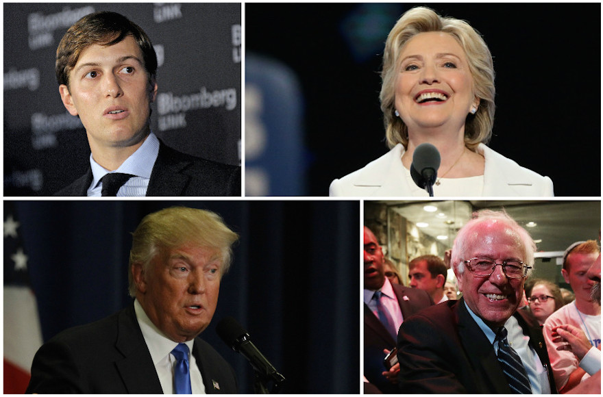 Clockwise from top left: Jared Kushner, Hillary Clinton, Bernie Sanders and Donald Trump. (Getty Images)