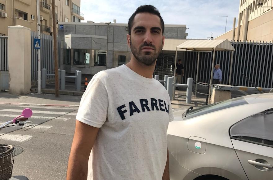 Haim Levy standing across the street from the U.S. Embassy in Tel Aviv, Nov. 14, 2016. (Andrew Tobin)