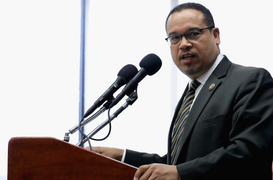Rep. Keith Ellison (D, Minn.) at a news conference at the National Press Club in Washington, D.C, May 24, 2016. (Chip Somodevilla/Getty Images)