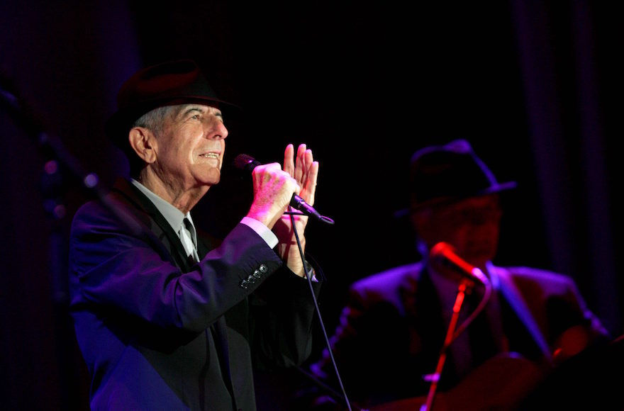Leonard Cohen performing at a concert in Ramat Gan, Israel, Sept. 24, 2009. (Marko/Flash90)