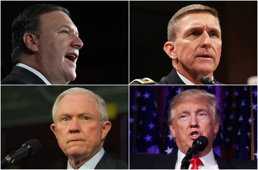 Top left, clockwise, Mike Pompeo, Michael Flynn, Donald Trump, and Jeff Sessions (Pompeo photo: Win McNamee/Getty Images; Flynn photo: Alex Wong/Getty Images; Trump photo: Chip Somodevilla/Getty Images; Sessions photo: Jeff Swensen/Getty Images)