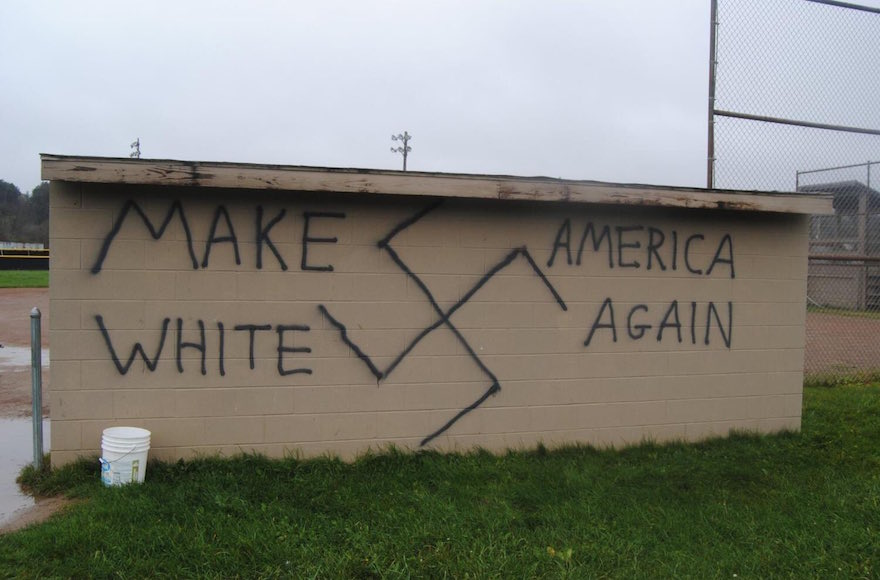 Nazi-themed graffiti was found in the town of Wellsville, New York, the same day Donald Trump won the presidential election, Nov. 9, 2016. (Twitter)