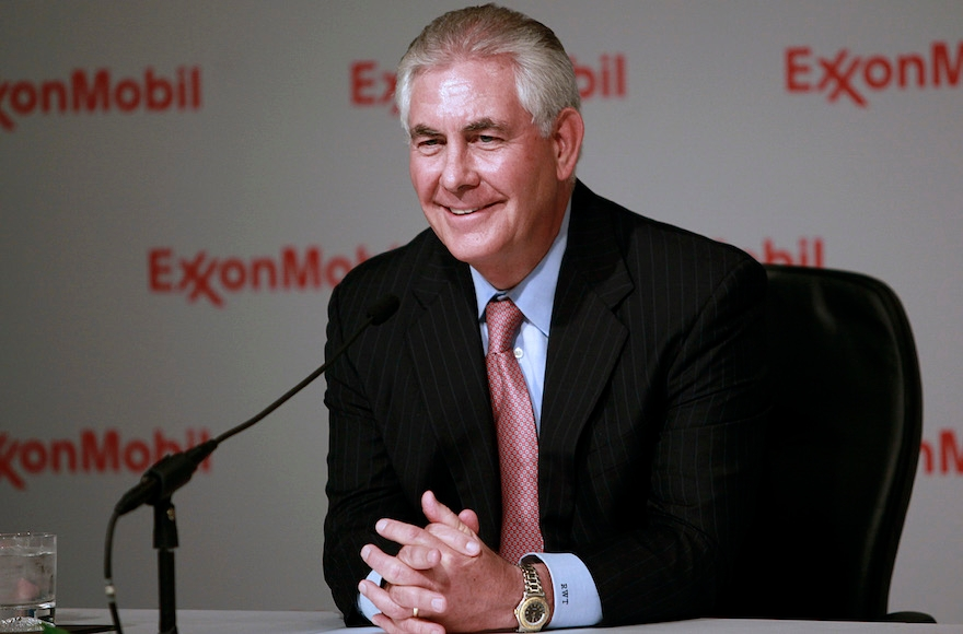 Rex Tillerson speaking to the media after the Exxon annual shareholder's meeting at the Morton H. Meyerson Symphony Center in Dallas, May 25, 2011. (Jason Janik/Bloomberg News via Getty Images)