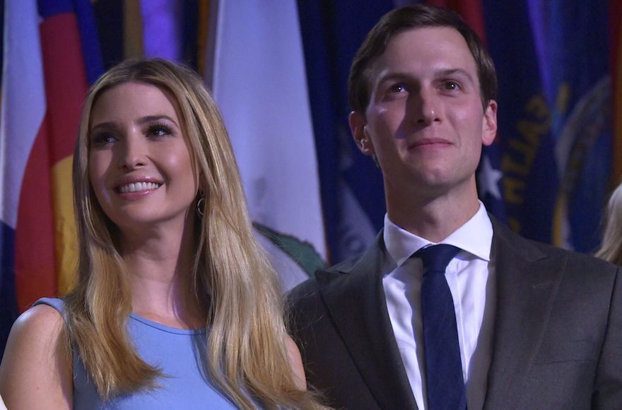 Ivanka Trump and Jared Kushner listening as Donald Trump speaks during election night at the New York Hilton Midtown in New York City, Nov. 9, 2016. (Mandel Ngan/AFP/Getty Images)