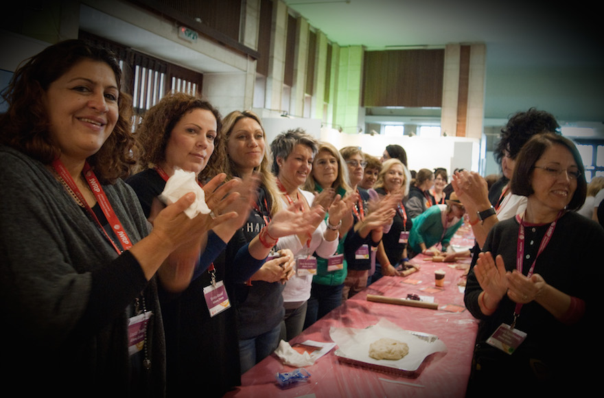 The Greek delegation of the Jewish Women's Renaissance Project baking challahs in Jerusalem in 2015. (Courtesy of Jewish Women's Renaissance Project)
