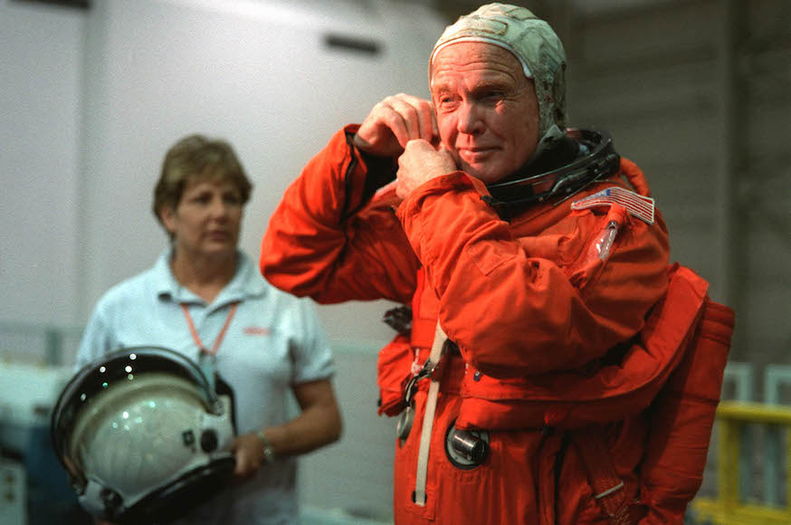 John Glenn prior to a training session at the Johnson Space Center (NASA via Getty Images)