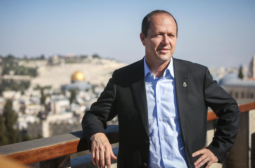 Jerusalem Mayor Nir Barkat during a press conference for the 2016 Jerusalem marathon in Jerusalem, March 1, 2016. (Yonatan Sindel/Flash90