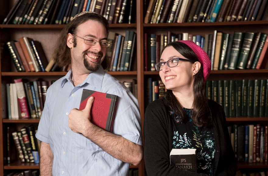 Yair Shahak, left, and Yaelle Frohlich, are married. They are also competing against each other in the International Adult Bible Contest in Jerusalem on Dec. 28, 2016. (David Khabinsky/Yeshiva University)