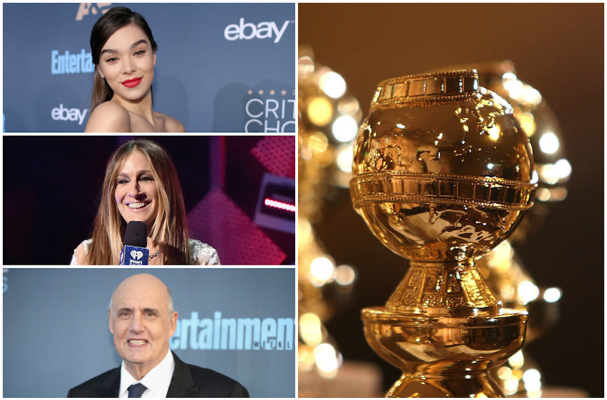 Top left, clockwise: Haile Steinfeld, Golden Globes statuette, Jeffrey Tambor, Sarah Jessica Parker (Steinfeld photo: Christopher Polk/Getty Images for The Critics' Choice Awards; statuette photo: Frazer Harrison/Getty Images; Tambor photo: Christopher Polk/Getty Images for The Critics' Choice Awards; Parker photo: Mike Coppola/Getty Images for iHeart)