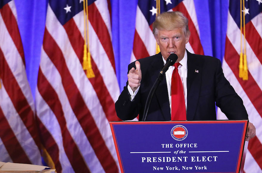 President-elect Donald Trump speaking at a news conference at Trump Tower in New York, Jan. 11, 2017. (Spencer Platt/Getty Images)