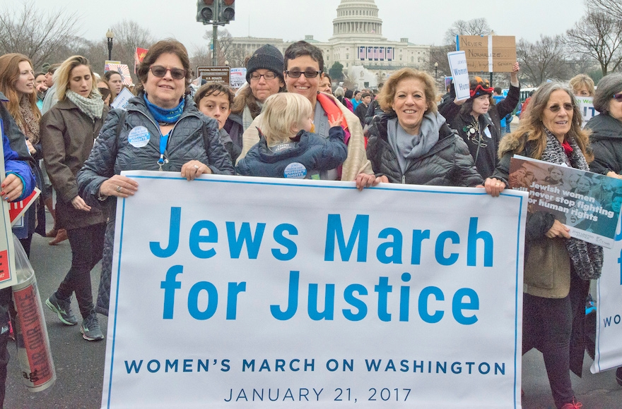 From left to right: Nancy Kaufman, CEO of the National Council of Jewish Women; Rabbi Tamara R. Cohen, NCJW Chief of Innovation, Moving Traditions; and Debbie Hoffmann, NCJW Board President at the National Mall for the Women's March on Washington, Jan. 21, 2017. (Ron Sachs)