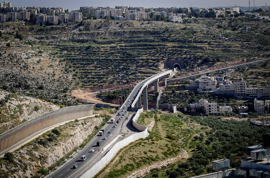 The separation barrier running near Jerusalem April