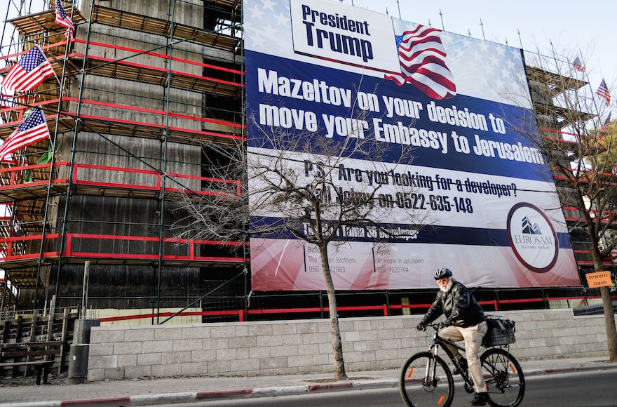 A banner seen in Jerusalem, Jan. 20, 2017. (Thomas Coex/AFP/Getty Images)