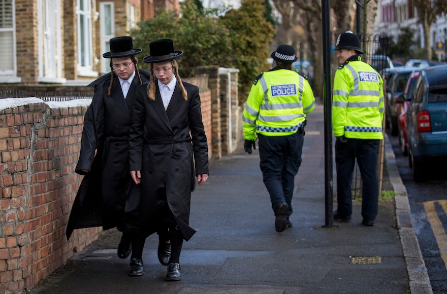 Jewish men in the Stamford Hill area of London, Jan. 17, 2015. (Rob Stothard/Getty Images)