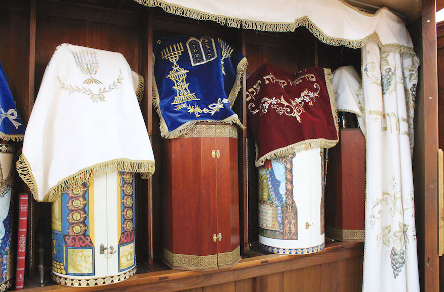 Karaite Torah scrolls are stored in the Eastern style, with the scroll enclosed in a hard case. (David A.M. Wilensky)