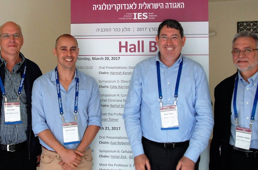 From left, researchers Dov Gefel, Yaniv Ovadia, Aron Troen and Jonathan Arbelle (Courtesy of Hebrew University)